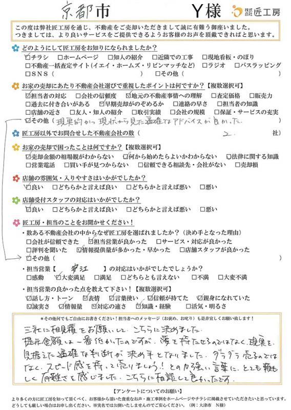 京都市 Y様【不動産を売却】